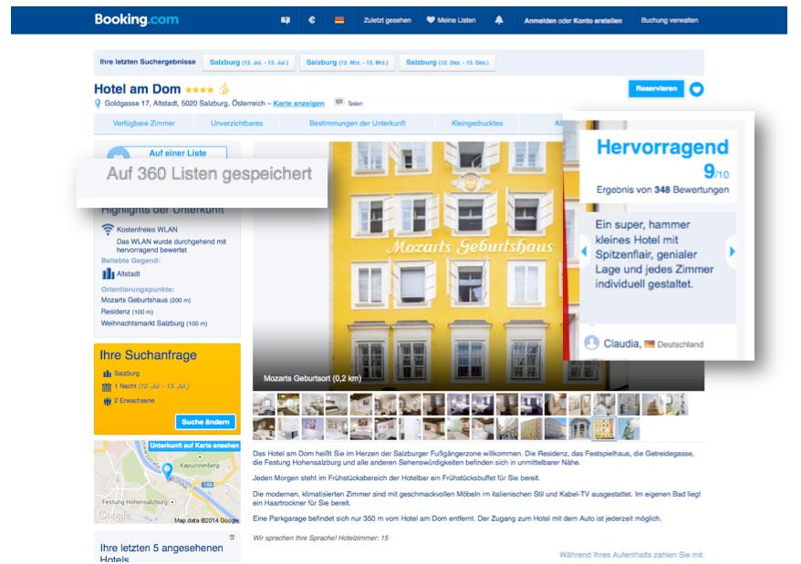 Booking.com Hoteldetailseite mit Social Proof Elementen